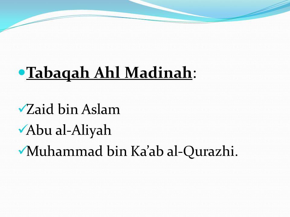 Tabaqah Ahl Madinah: Zaid bin Aslam Abu al-Aliyah