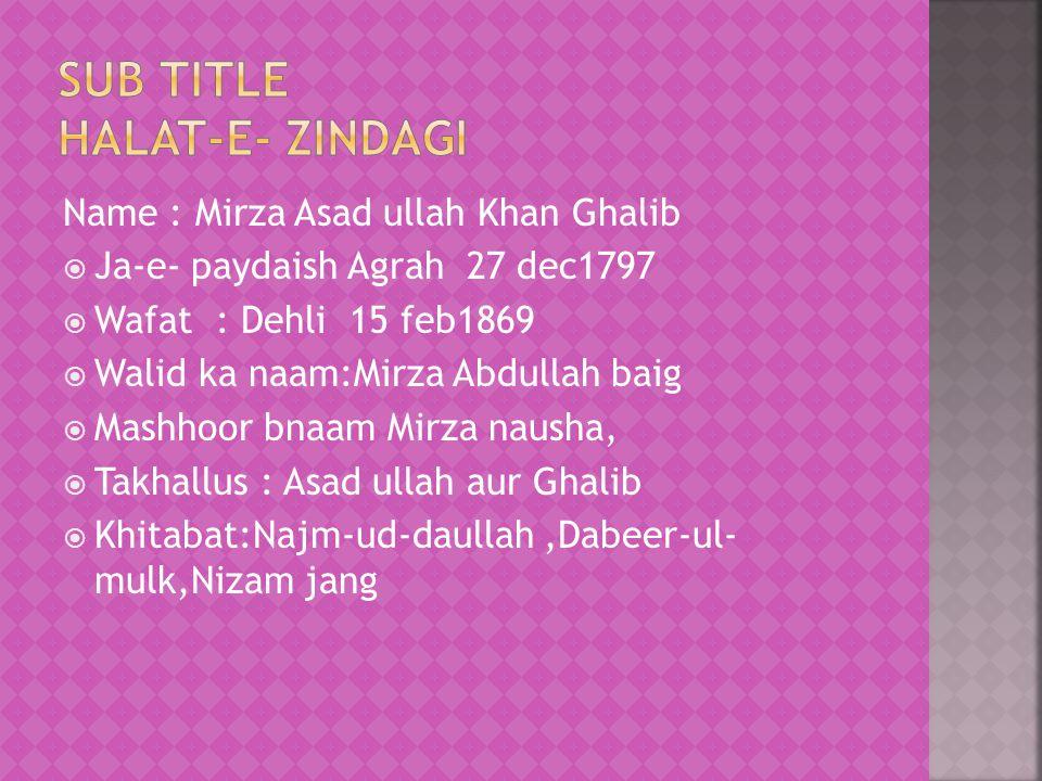 Sub title Halat-e- zindagi
