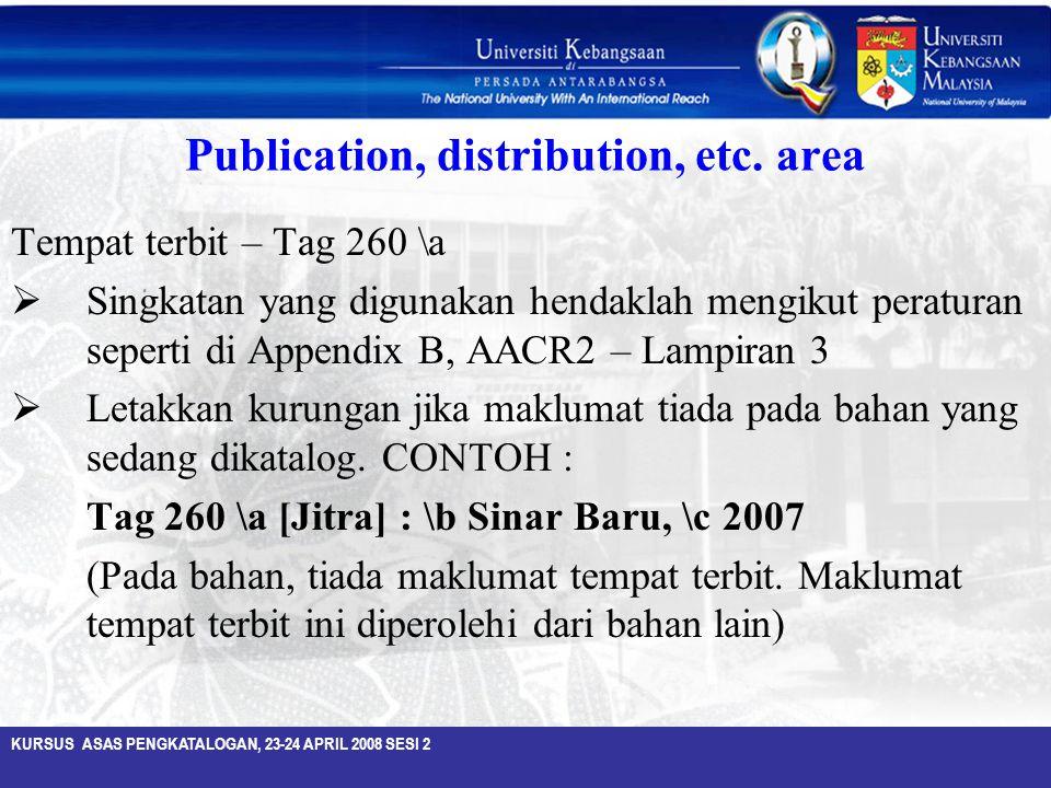 Publication, distribution, etc. area
