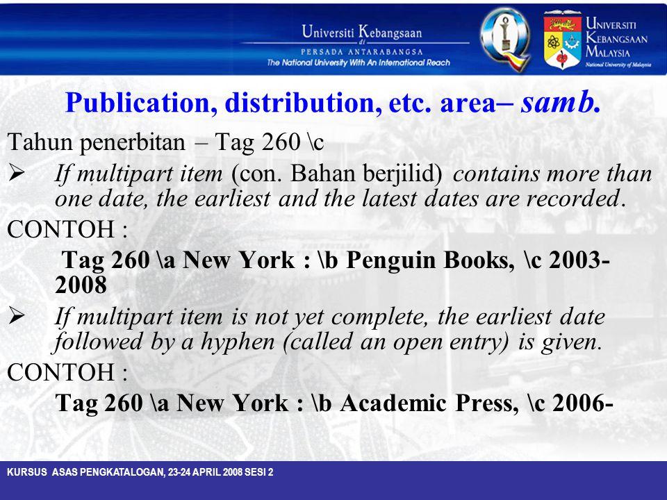 Publication, distribution, etc. area– samb.