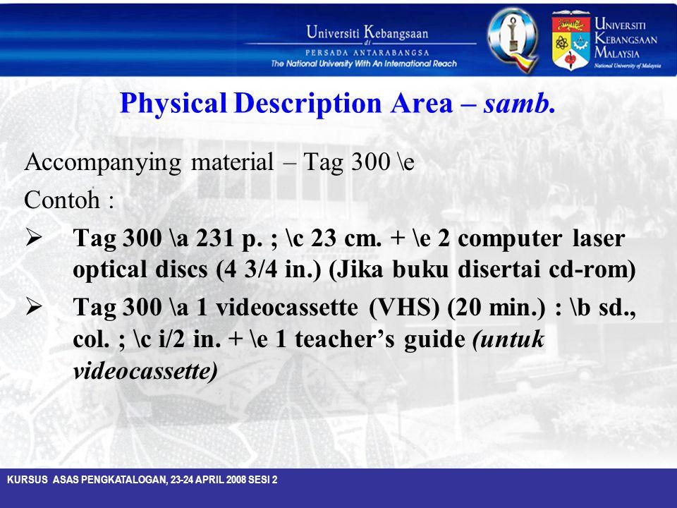 Physical Description Area – samb.