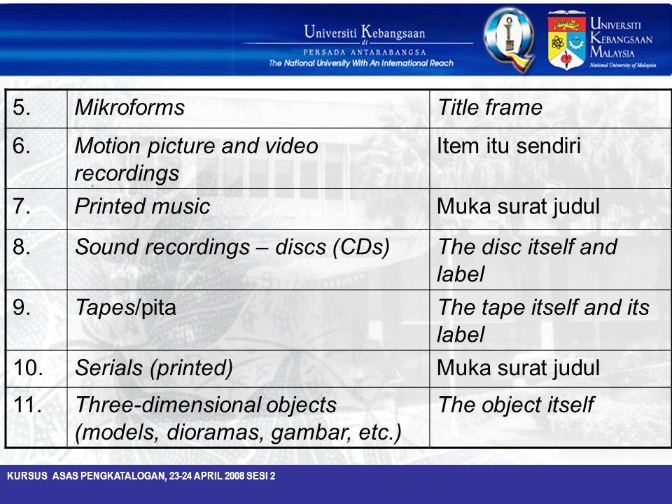 5. Mikroforms. Title frame. 6. Motion picture and video recordings. Item itu sendiri. 7. Printed music.