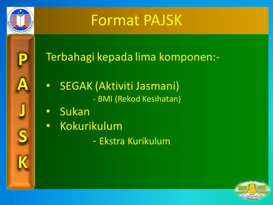 Format PAJSK Terbahagi kepada lima komponen:- SEGAK (Aktiviti Jasmani)