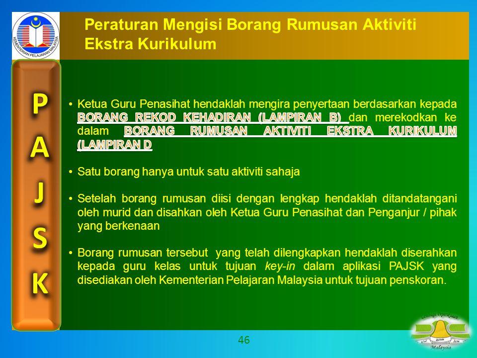Peraturan Mengisi Borang Rumusan Aktiviti Ekstra Kurikulum