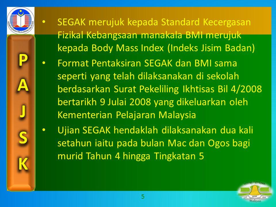 SEGAK merujuk kepada Standard Kecergasan Fizikal Kebangsaan manakala BMI merujuk kepada Body Mass Index (Indeks Jisim Badan)