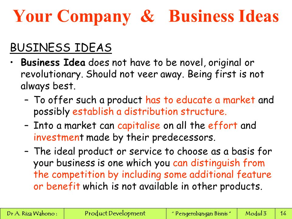 novel business ideas