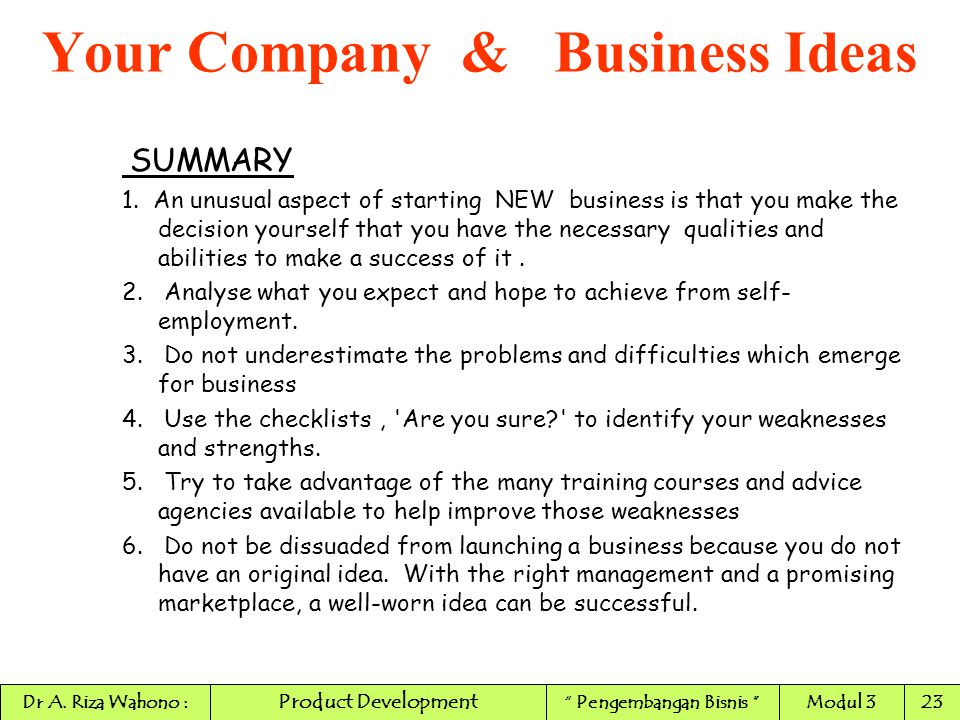Your Company & Business Ideas