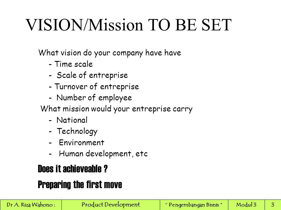 VISION/Mission TO BE SET