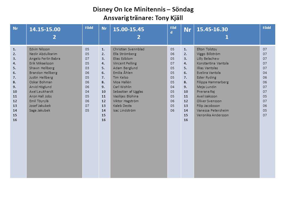 Disney On Ice Minitennis – Söndag Ansvarig tränare: Tony Kjäll