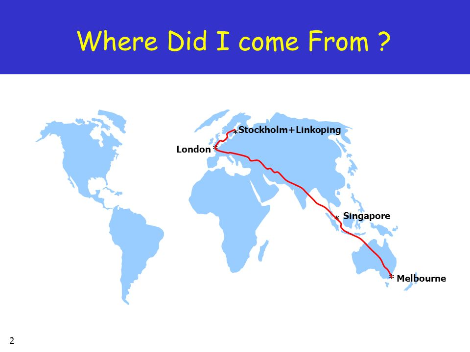 Where Did I come From Stockholm+Linkoping * London * Singapore * *