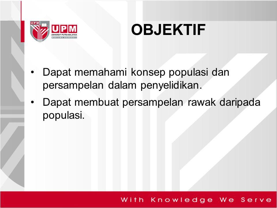 OBJEKTIF Dapat memahami konsep populasi dan persampelan dalam penyelidikan.
