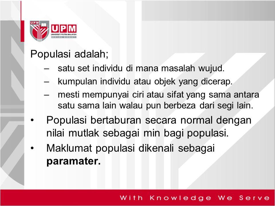 Maklumat populasi dikenali sebagai paramater.