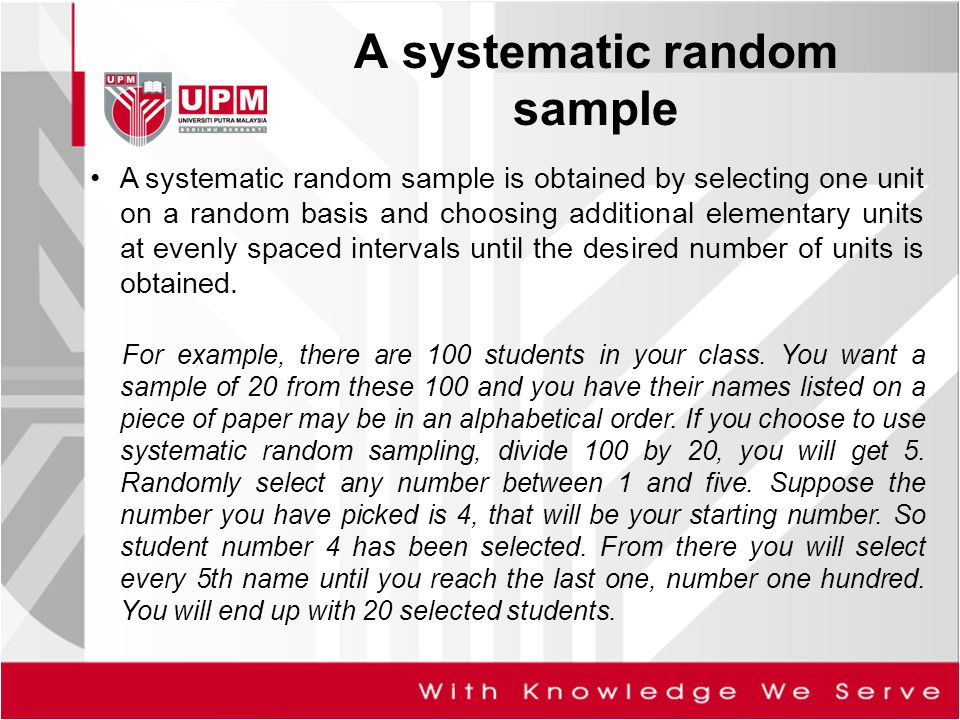 A systematic random sample