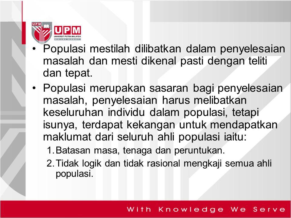 Populasi mestilah dilibatkan dalam penyelesaian masalah dan mesti dikenal pasti dengan teliti dan tepat.