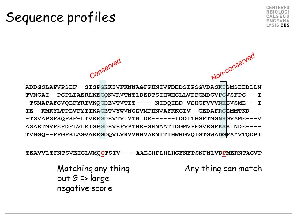 Sequence profiles Matching any thing but G => large negative score