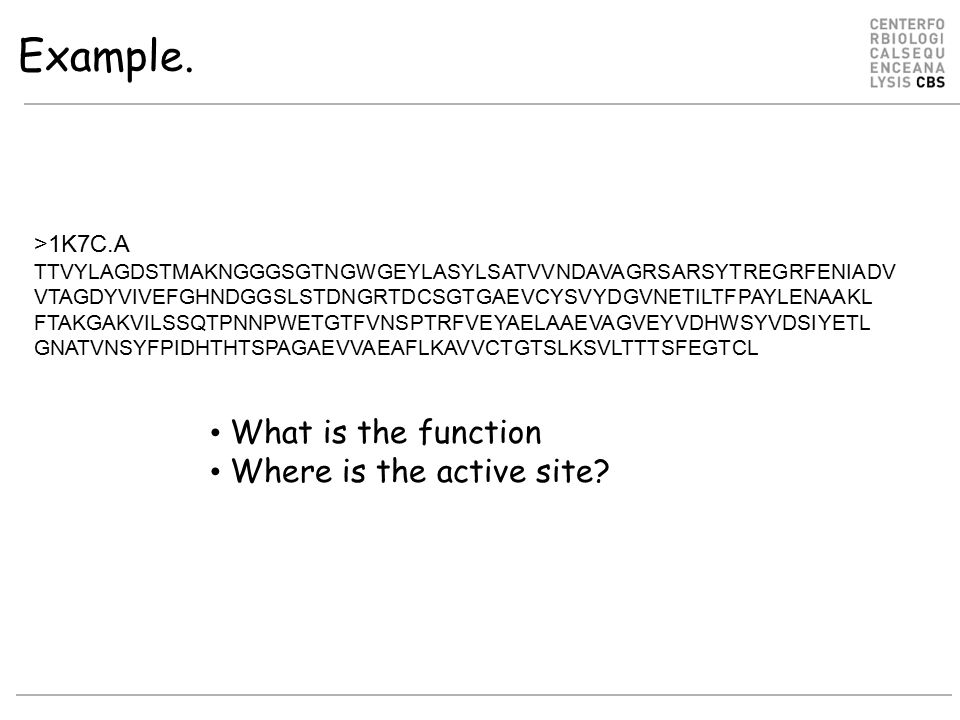Example. What is the function Where is the active site >1K7C.A