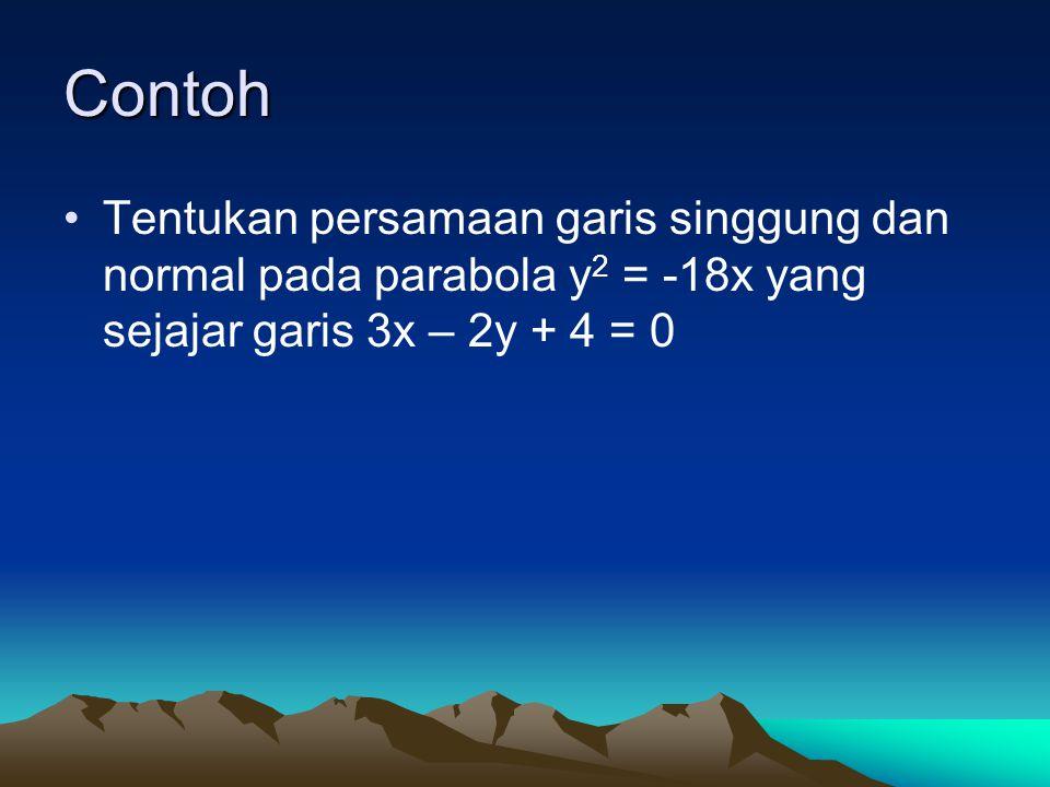 Contoh Tentukan persamaan garis singgung dan normal pada parabola y2 = -18x yang sejajar garis 3x – 2y + 4 = 0.