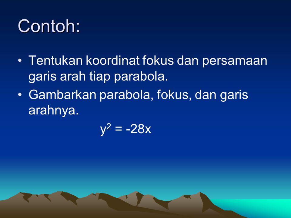 Contoh: Tentukan koordinat fokus dan persamaan garis arah tiap parabola. Gambarkan parabola, fokus, dan garis arahnya.