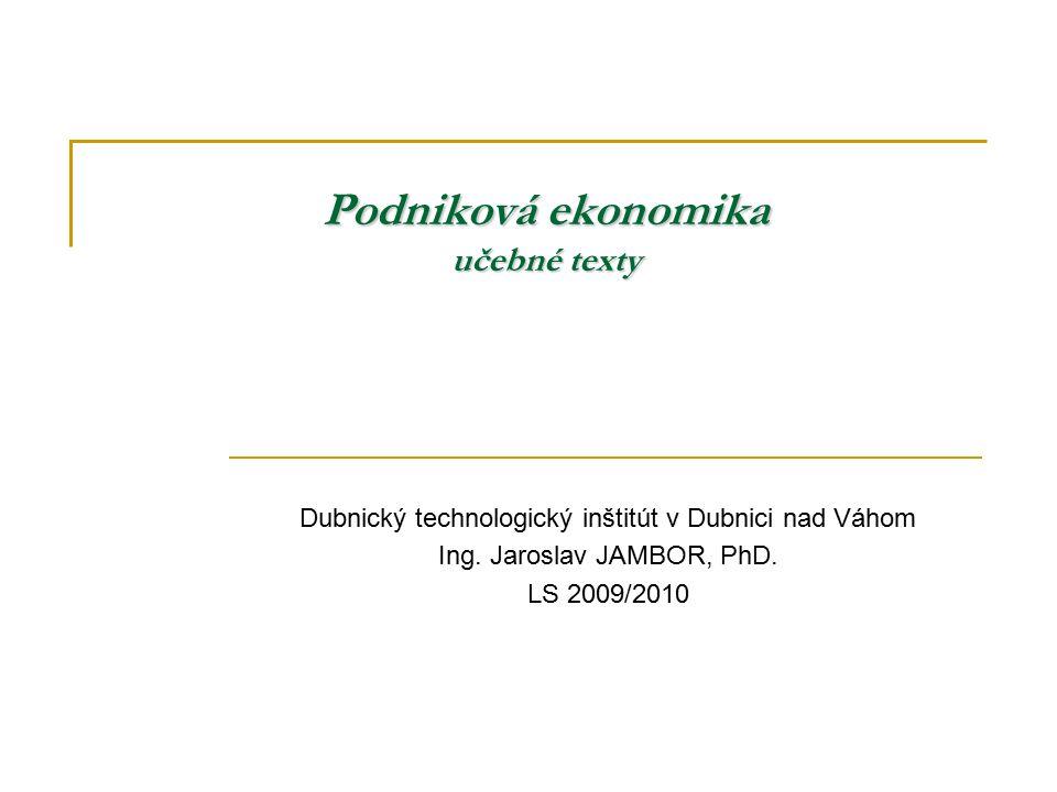 Podniková ekonomika učebné texty