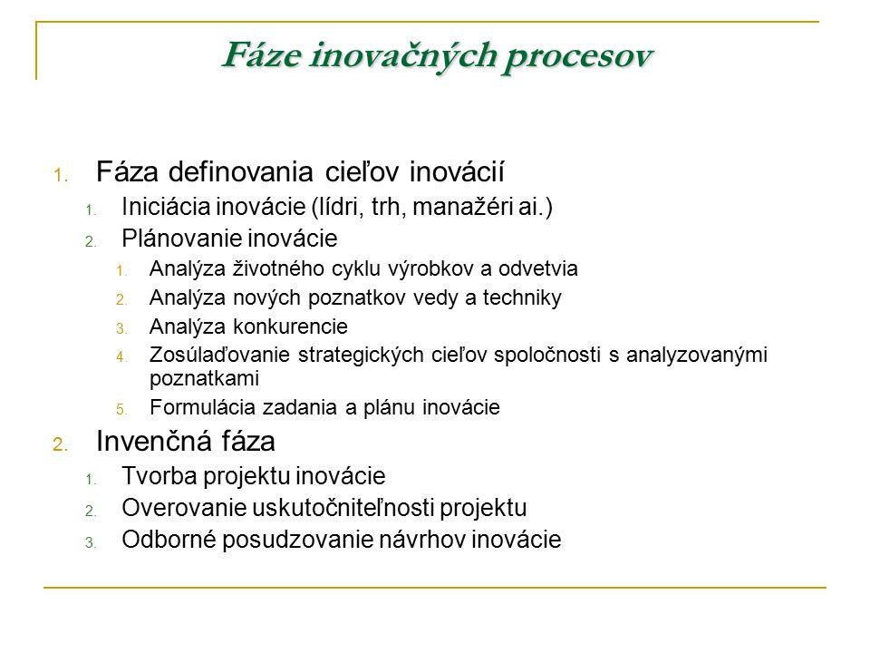 Fáze inovačných procesov