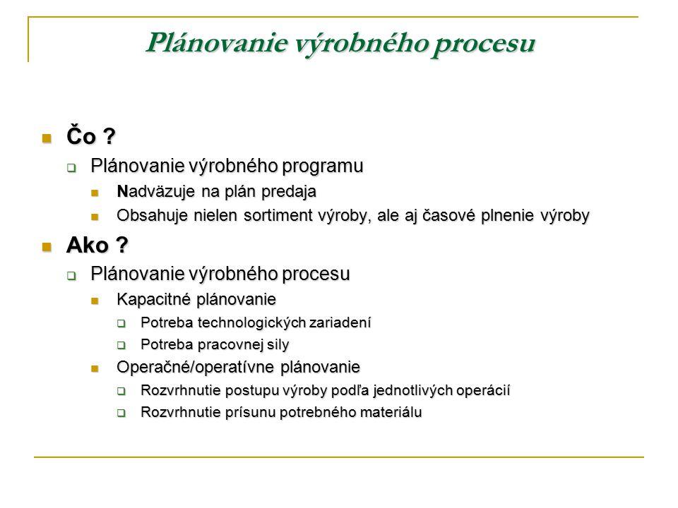 Plánovanie výrobného procesu
