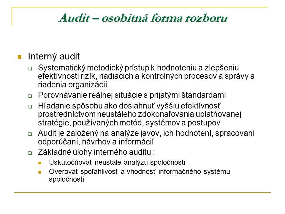 Audit – osobitná forma rozboru