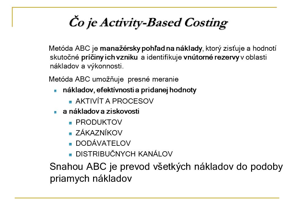 Čo je Activity-Based Costing