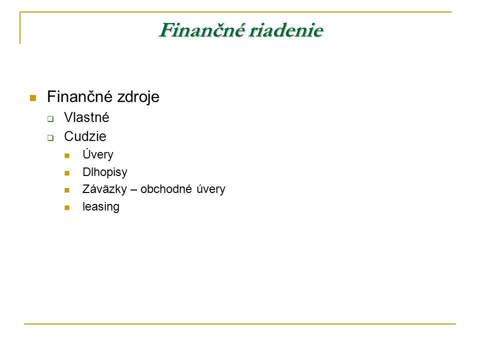 Finančné riadenie Finančné zdroje Vlastné Cudzie Úvery Dlhopisy
