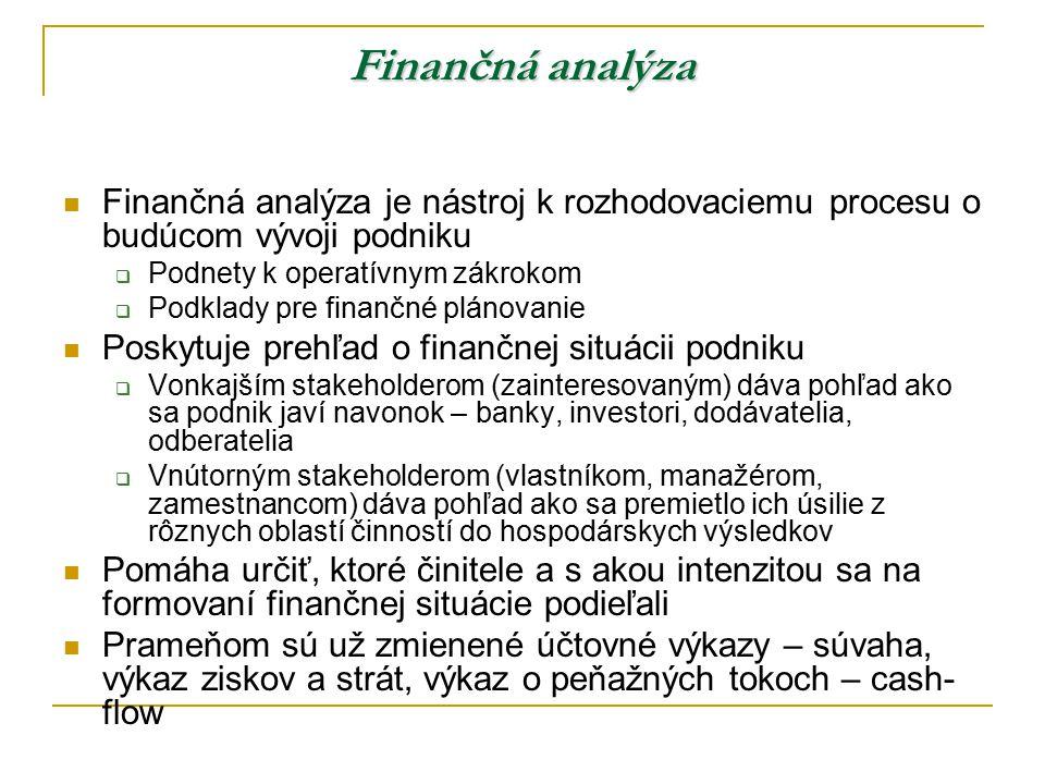 Finančná analýza Finančná analýza je nástroj k rozhodovaciemu procesu o budúcom vývoji podniku. Podnety k operatívnym zákrokom.