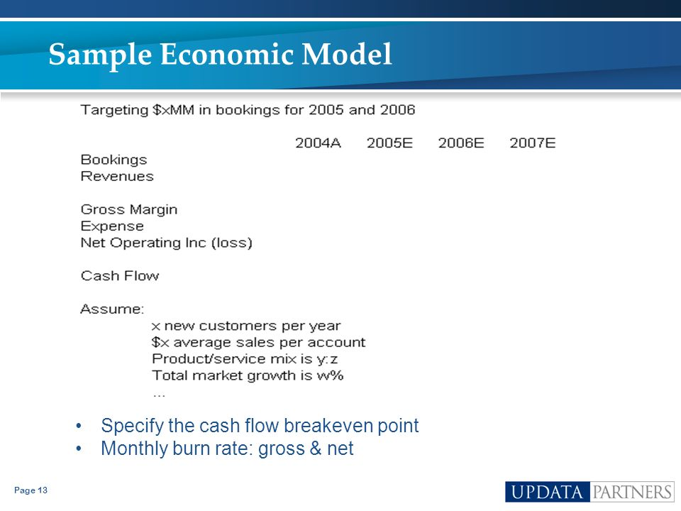Sample Economic Model Specify the cash flow breakeven point