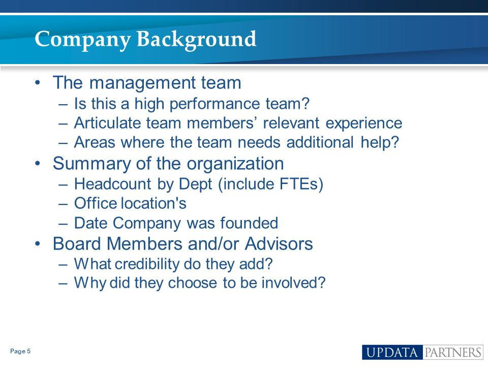 Company Background The management team Summary of the organization