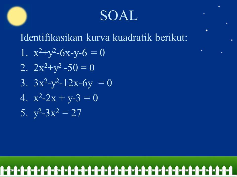 SOAL Identifikasikan kurva kuadratik berikut: x2+y2-6x-y-6 = 0