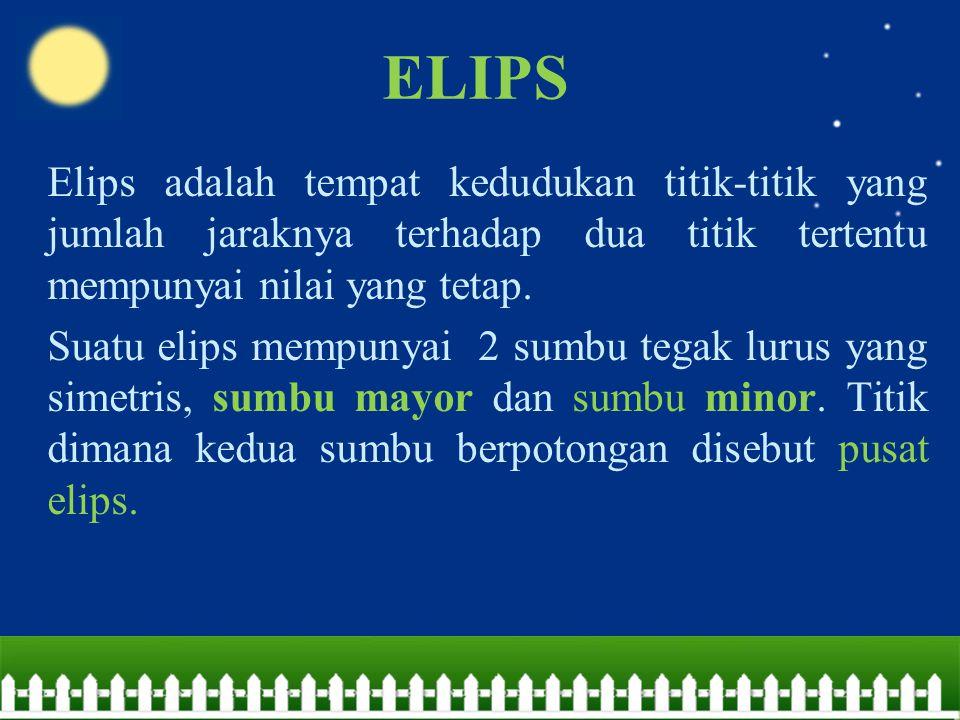 ELIPS Elips adalah tempat kedudukan titik-titik yang jumlah jaraknya terhadap dua titik tertentu mempunyai nilai yang tetap.