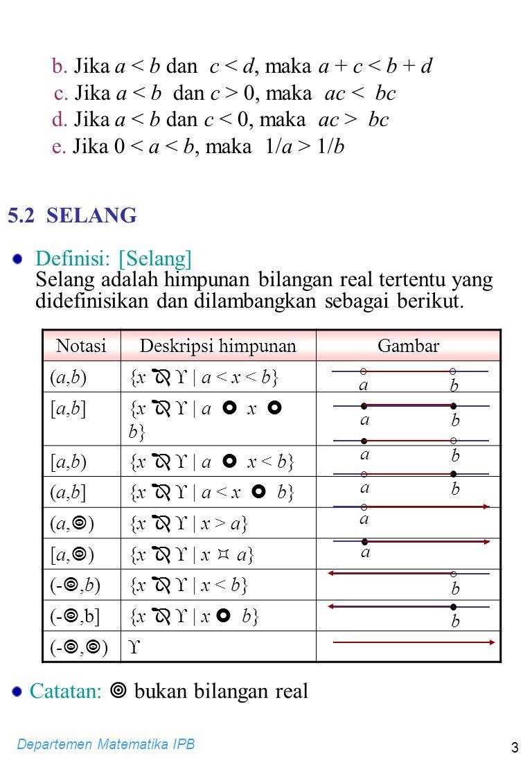 b. Jika a < b dan c < d, maka a + c < b + d