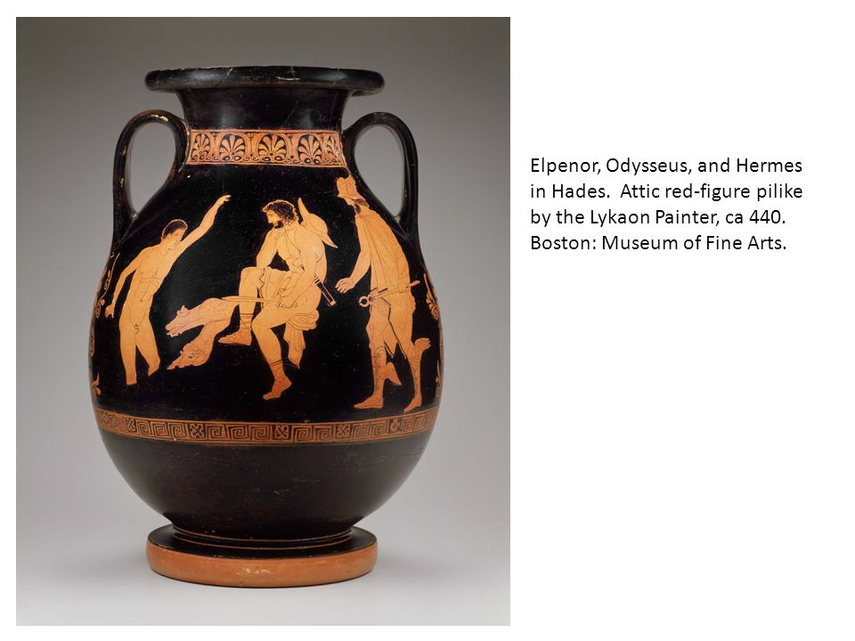 Elpenor, Odysseus, and Hermes in Hades