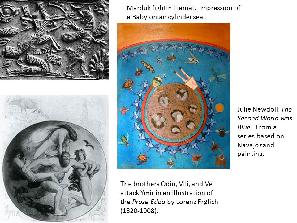 Marduk fightin Tiamat. Impression of a Babylonian cylinder seal.