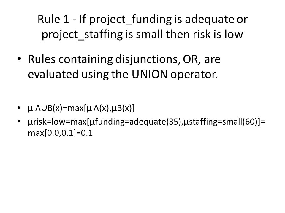 Rule 1 - If project_funding is adequate or project_staffing is small then risk is low