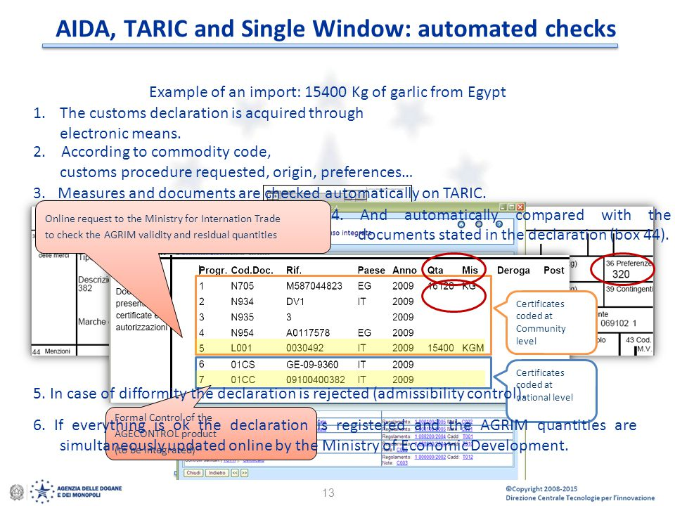 AIDA, TARIC and Single Window: automated checks