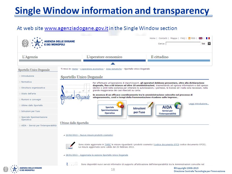 Single Window information and transparency