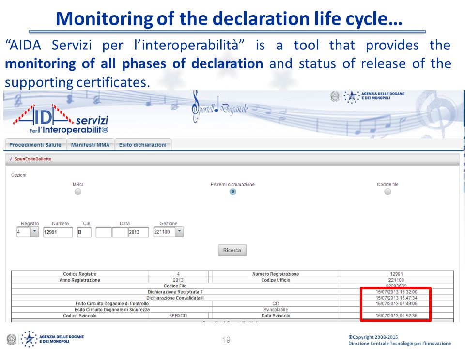 Monitoring of the declaration life cycle…