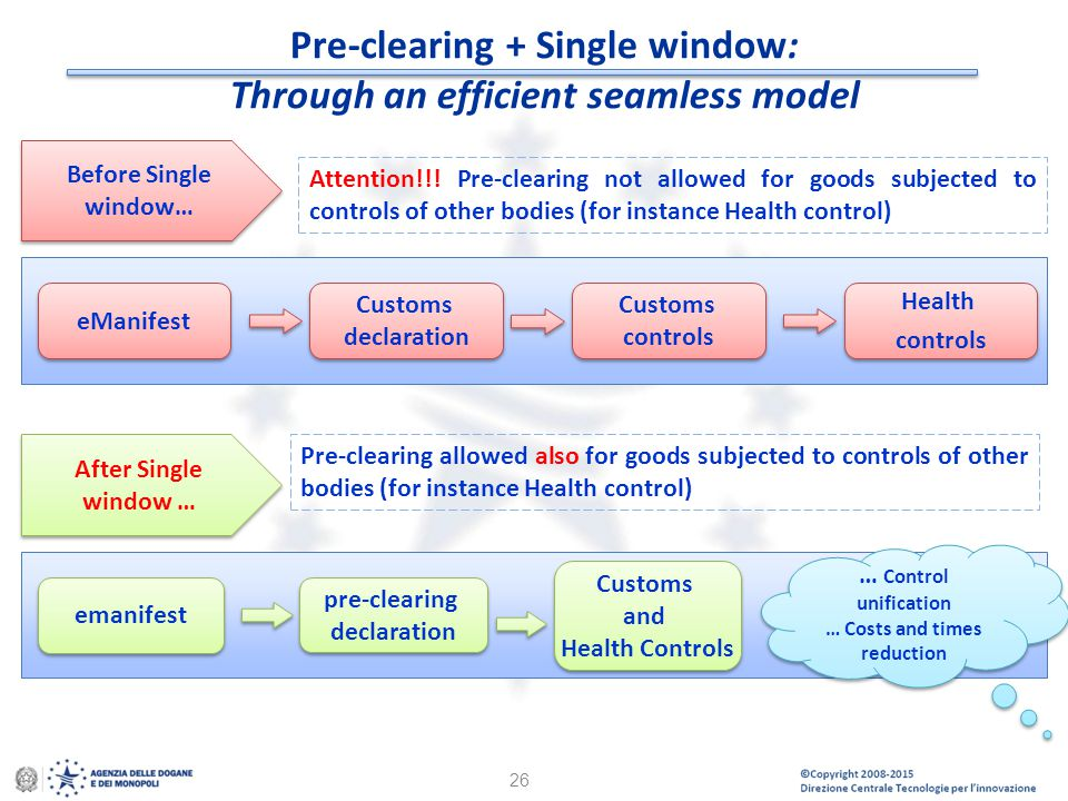 Pre-clearing + Single window: Through an efficient seamless model