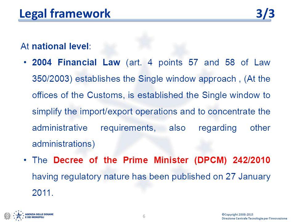 Legal framework 3/3 At national level: