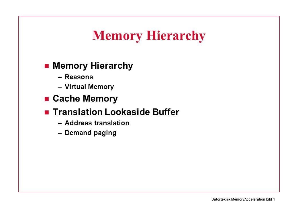 Memory Hierarchy Memory Hierarchy Cache Memory