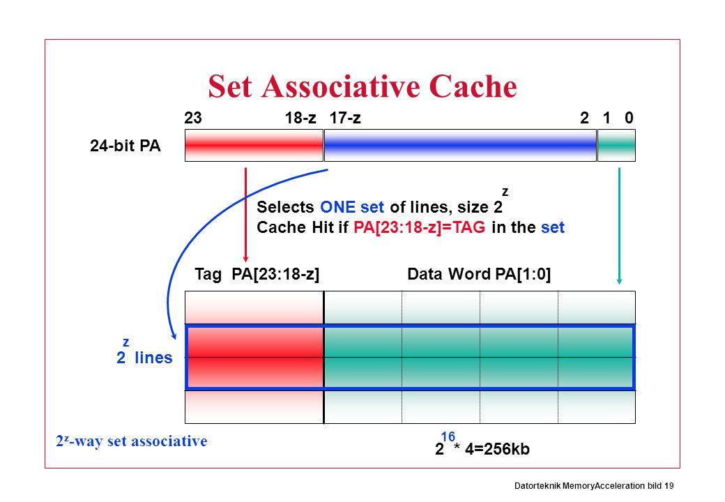 Set Associative Cache 23 18-z 17-z 2 1 24-bit PA