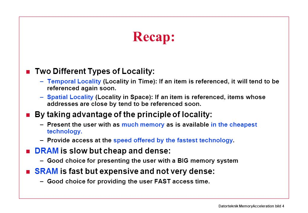 Recap: Two Different Types of Locality:
