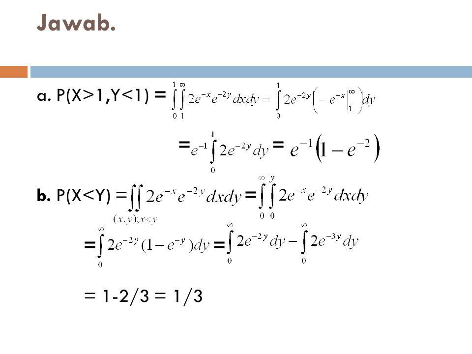 Jawab. a. P(X>1,Y<1) = = = b. P(X<Y) = = = =