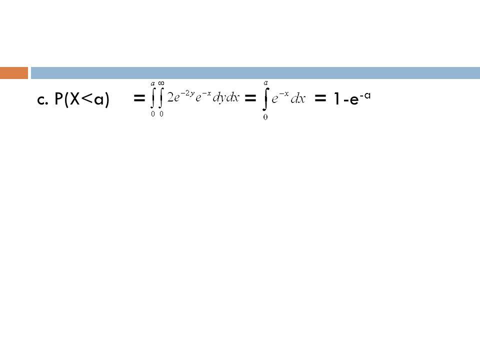 c. P(X<a) = = = 1-e-a