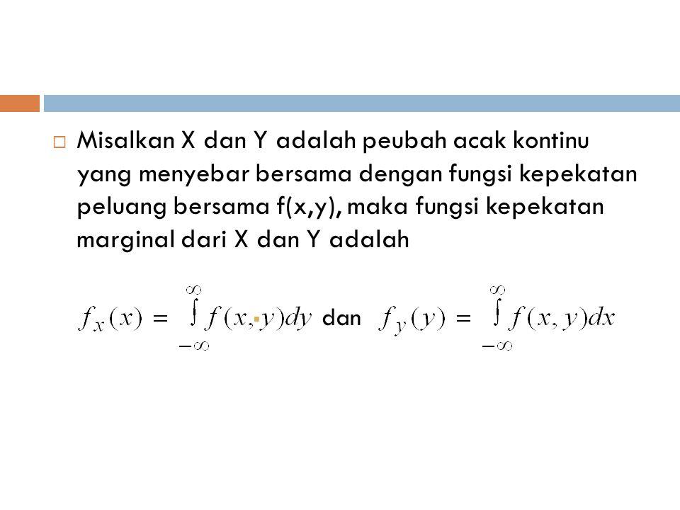 Misalkan X dan Y adalah peubah acak kontinu yang menyebar bersama dengan fungsi kepekatan peluang bersama f(x,y), maka fungsi kepekatan marginal dari X dan Y adalah