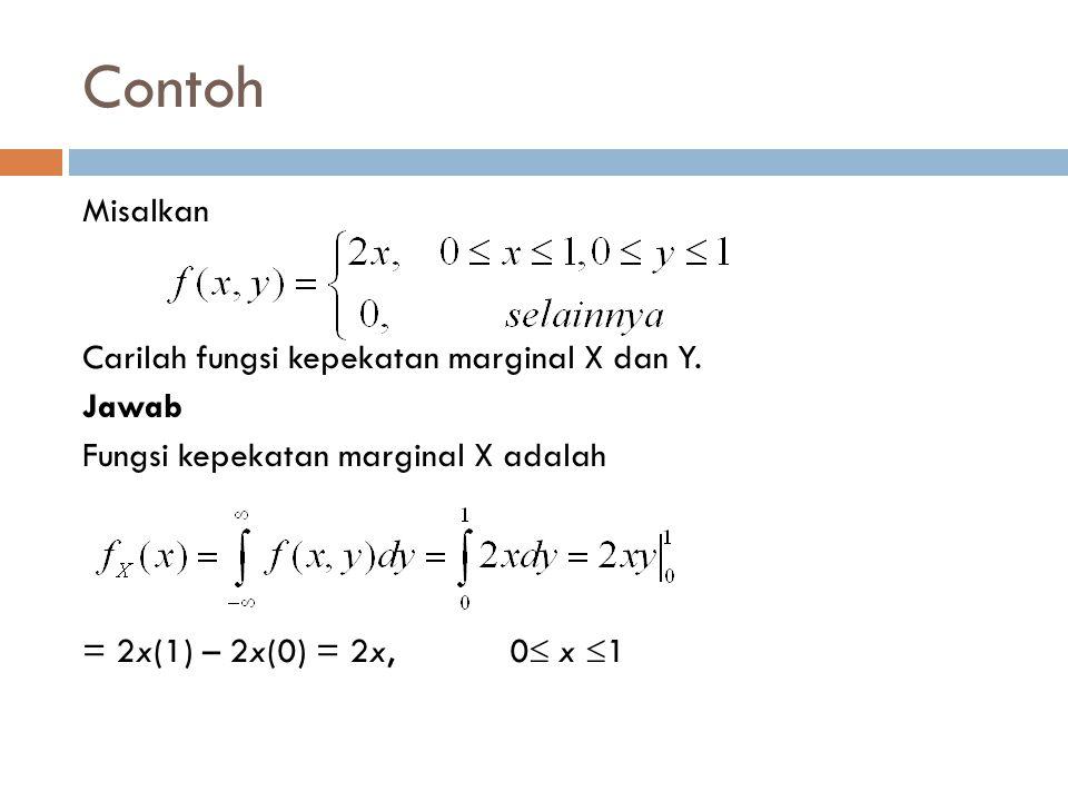 Contoh Misalkan Carilah fungsi kepekatan marginal X dan Y.