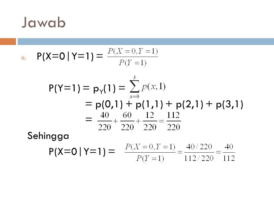 Jawab P(X=0|Y=1) = P(Y=1) = pY(1) =